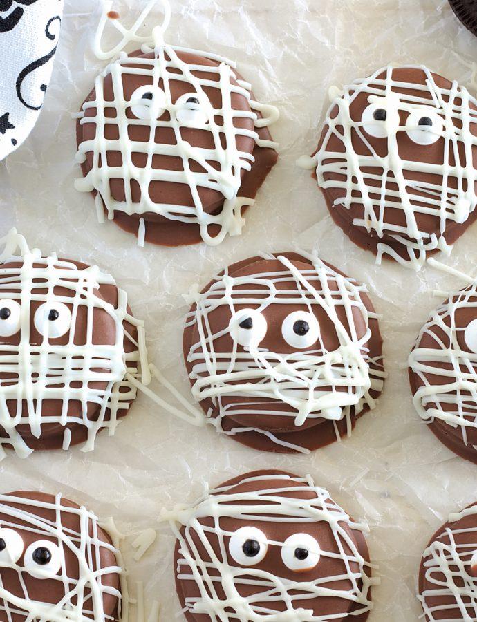 Dipped Oreo Mummy Cookies